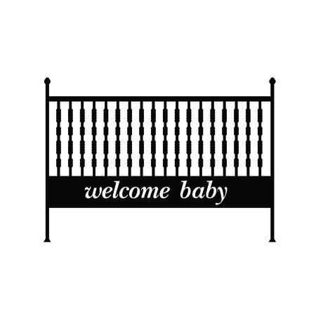bebe cuna: cuna ilustraci�n vectorial negro