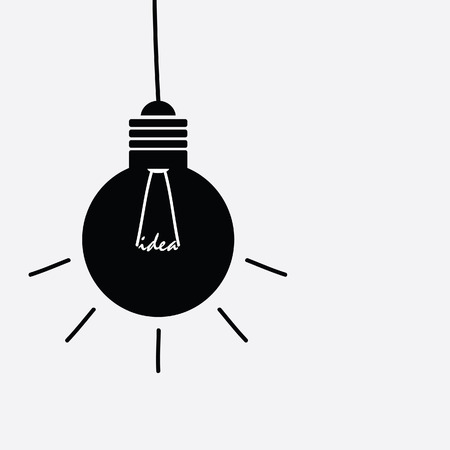 buble: idea light buble black and white vector silhouette