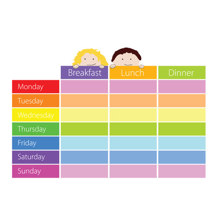 cronograma: calendario con la ilustraci�n de los ni�os de color vectorial