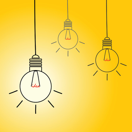 buble: idea light buble vector on yellow background Illustration