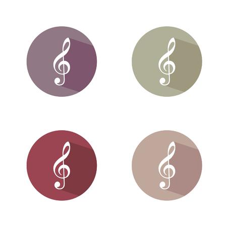 chiave di violino: violino illustrazione vettoriale chiave nel colorato Vettoriali