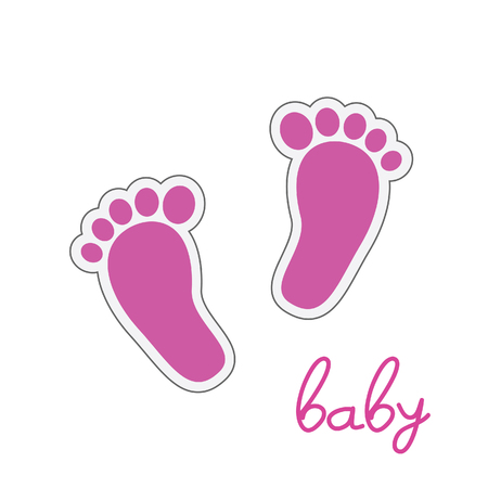 cute baby girls: baby feet pink vector illustration