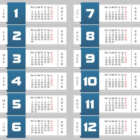 mon 12: calendar colorful vector illustration
