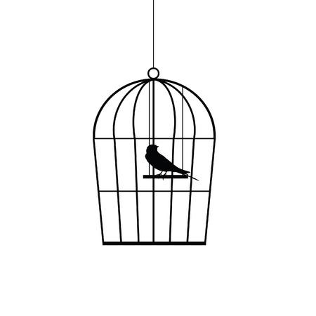d�livrance: moineau dans une cage noire silhouette vecteur Illustration