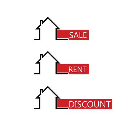 indicator board: sale rent house color vector illustration Illustration