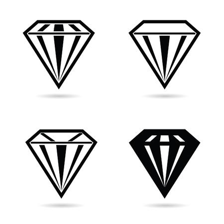 rubin: diamond crystal set black vector silhouette