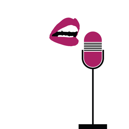 sing: microphone with lips sing color vector Illustration