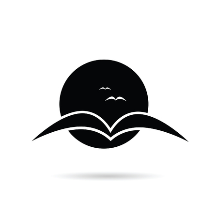 swallow bird: swallow bird on a moonlight vector illustration