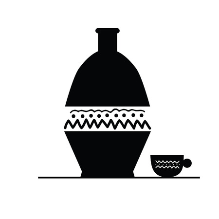 ewer: pitcher and cup black vector silhouette
