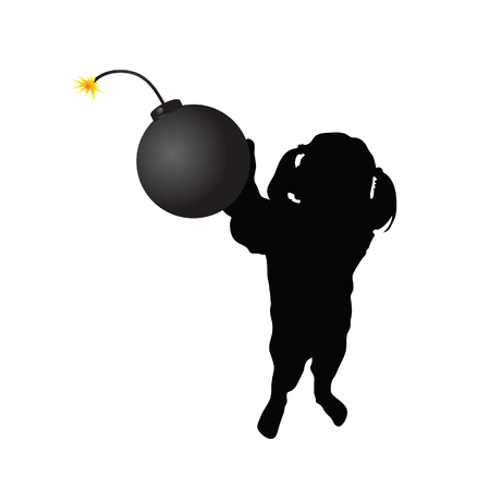 bombshell: girl with bomb vector silhouette
