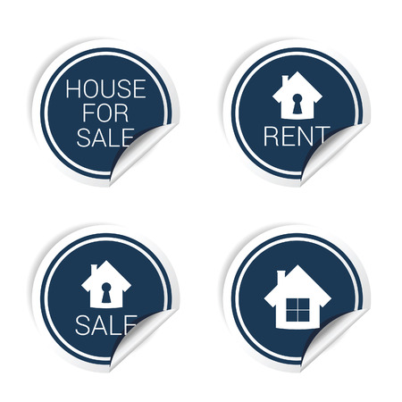 house for sale: sticker of house for sale and rent blue vector