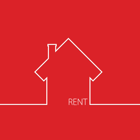 rent house: rent house in red vector illustration Illustration