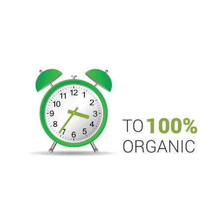 midnight hour: clock organic green vector illustration