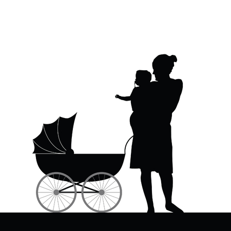 prams: mother holding baby with carriage silhouette vector Illustration