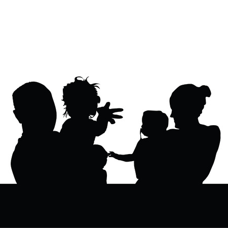 black family: family with baby silhouette black vector illustration