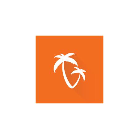 carribean: palm tree on orange vector illustration on a white