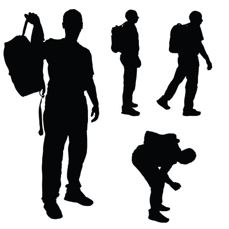 silueta masculina: hombre con una mochila negro silueta del vector