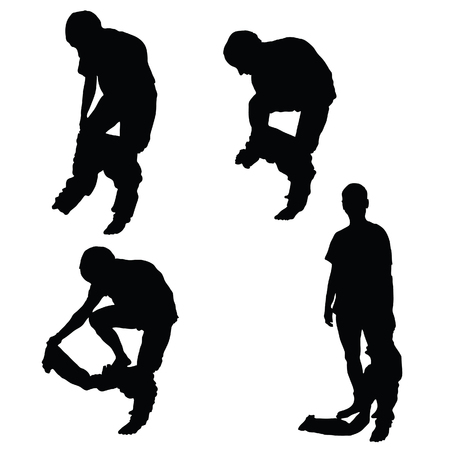 leaning on elbows: man takes off pants vector black silhouette Illustration