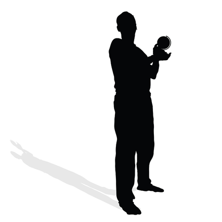 hand silhouette: man with globe in hand black vector silhouette illustration Illustration