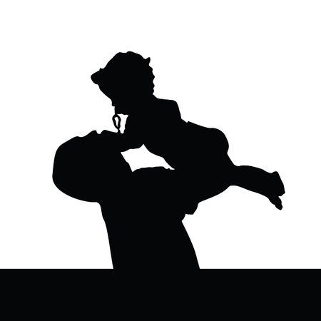 toddler boy: father playing with daughter silhouette black vector