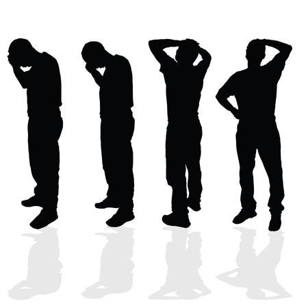 worried man: worried man vector black silhouette illustration