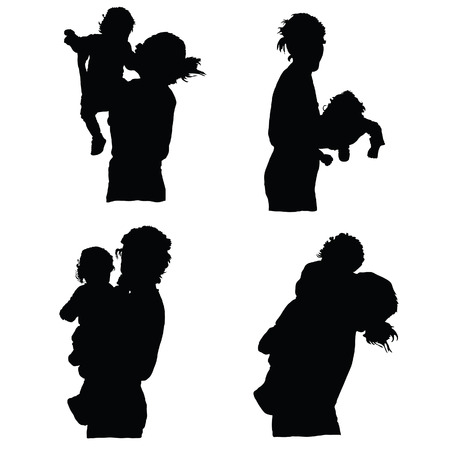 mother holding baby: mother holding baby silhouette vector on white