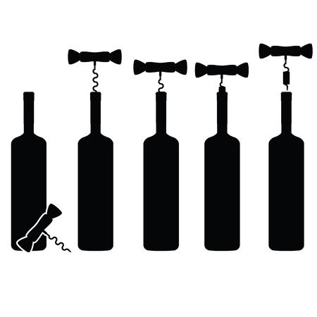 vino: bottle of wine vineyard vector silhouette