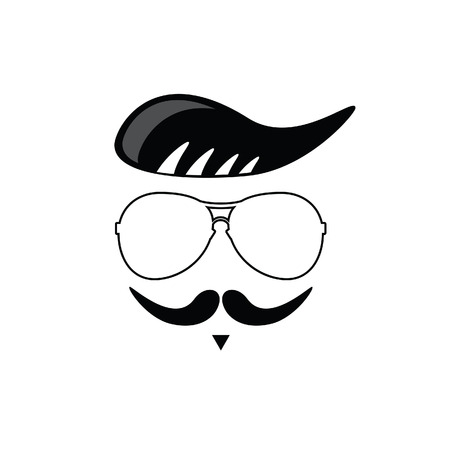 fake mustaches: face with mustache black vector silhouette