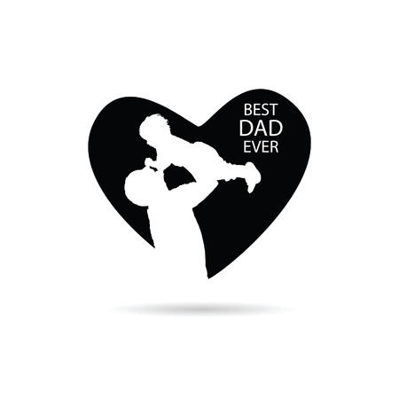 fatherhood: best dad ever in heart vector silhouette Illustration