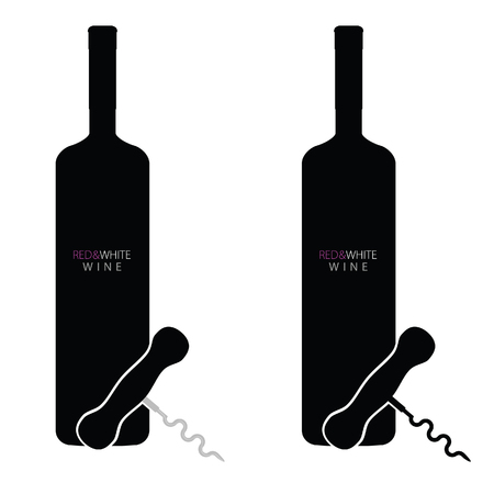 cabernet: bottle of red and white wine vector silhouette