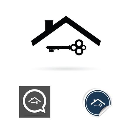 key en het dak vector silhouet Stock Illustratie