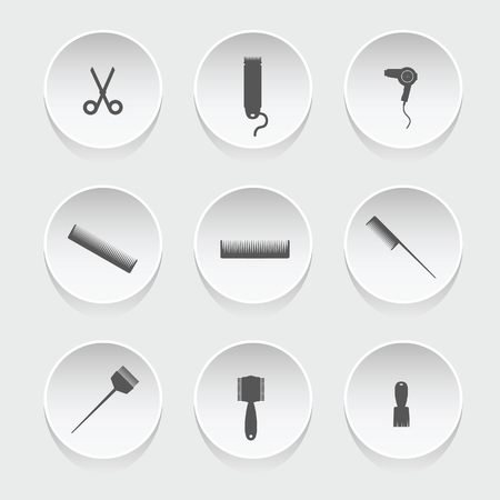 hairdressing: hairdressing icons vector silhouette Illustration