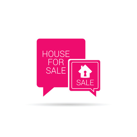 realtor: house for sale speech bubble pink vector