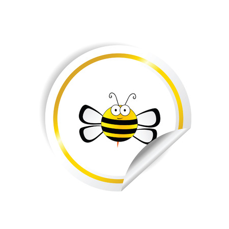 pollen: bee with honey sticker yellow vector in colorful