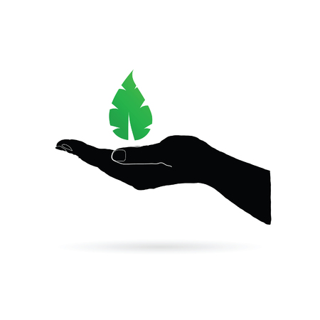 develope: leaf green in black hand vector silhouette Illustration