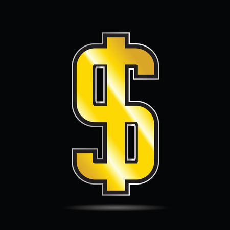black sign: dollar gold icon vector on black background Illustration