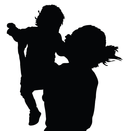 babysit: mother with daughter happy black vector silhouette