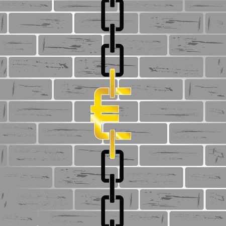 euro money: euro money on brick wall vector