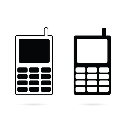 touchphone: mobile phone set black vector silhouette