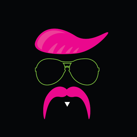pink and black: face with mustache pink vector on black background