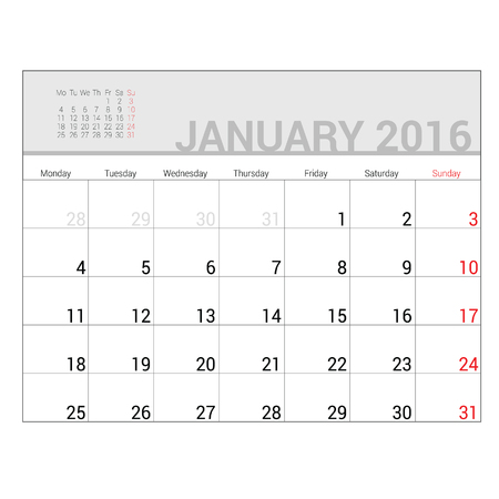 planners: planners for 2016 january vector illustration Illustration