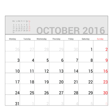 planners: planners for 2016 october vector illustration