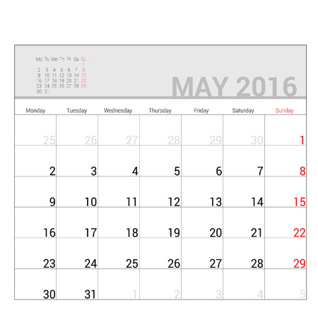 planners: planners for 2016 may vector illustration
