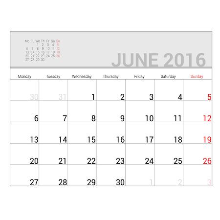 planners: planners for 2016 june vector illustration Illustration