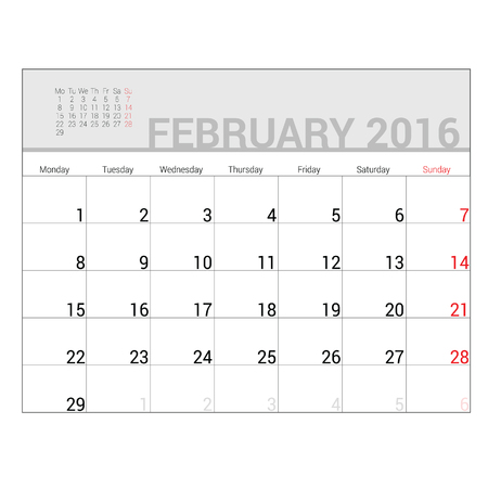 planners: planners for 2016 february vector illustration