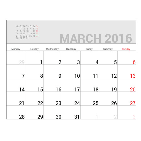 planners: planners for 2016 march vector illustration Illustration