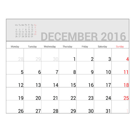 planners: planners for 2016 december vector illustration