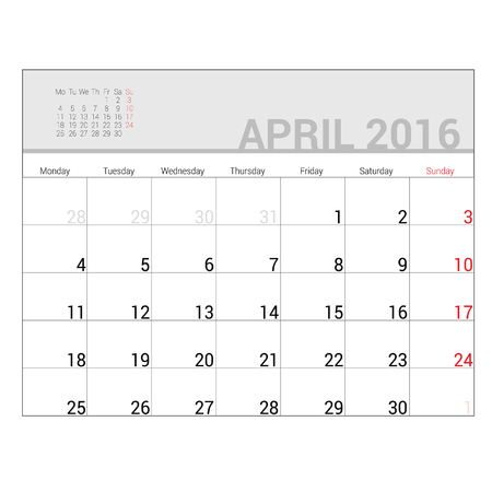 planners: planners for 2016 april vector illustration