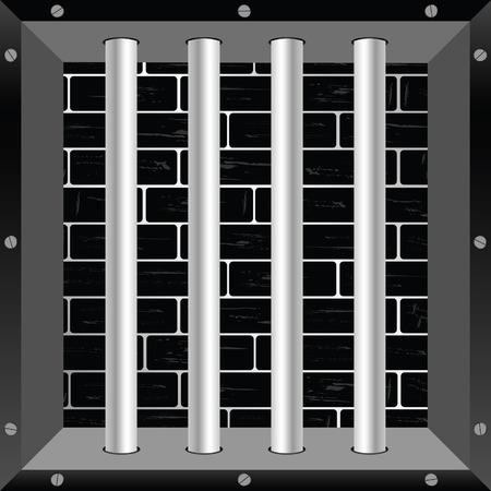 jail cell: prison bars steel illustration