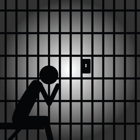 lockup: man in jail illustration black silhouette